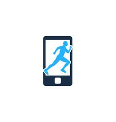 mobile run logo icon design vector image