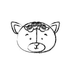 Monochrome contour blurr with face of bride bear vector