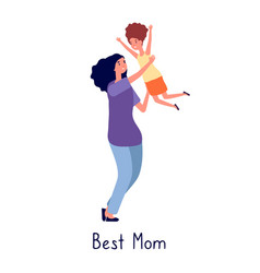 Mother hugging daughter beautiful mom play with vector