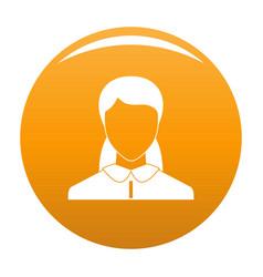 New woman avatar icon orange vector