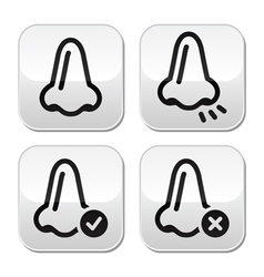 Nose smell vecotr buttons icons set vector image