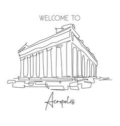 One single line drawing acropolis temple landmark vector