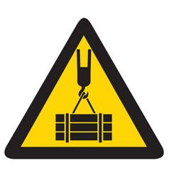 Overhead crane crush hazard triangle warning sign vector