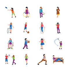 Park activities flat icons pack vector