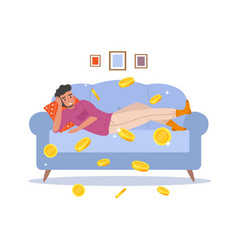 Passive income cartoon man earns money relaxing vector