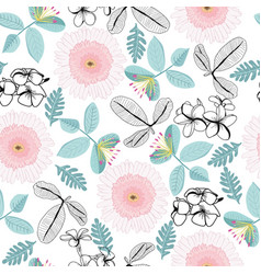 pattern plumeria and gerbera flowers and vector image