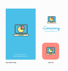 Pie chart on laptop company logo app icon and vector