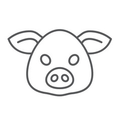 pig thin line icon animal and zoo pork vector image