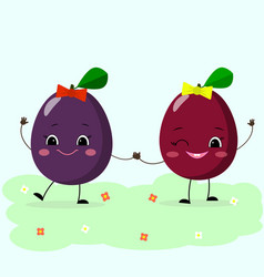 plums smiley girlfriend walk vector image