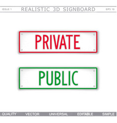 Private public information stylized signboard vector