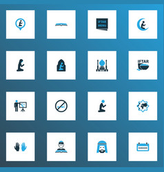 Religion icons colored set with board teaching vector