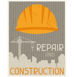 Repair and construction Retro poster in flat vector