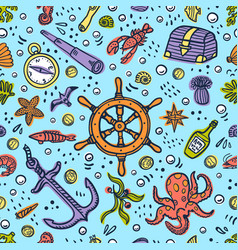 sea adventures card marine hand drawn vector image