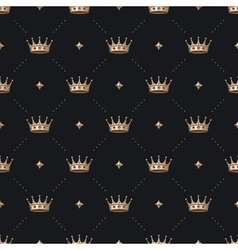 seamless gold patter and king crown with diamond vector image