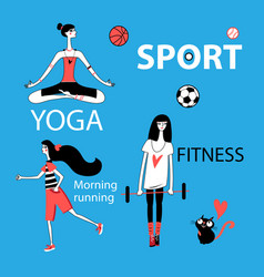 set girl and sport vector image