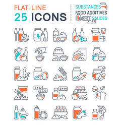 Set line icons food additives vector