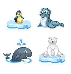 Set of cartoon arctic animals a navy seal vector