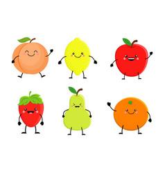 Set of cute cartoon fruit lemon orange apple vector
