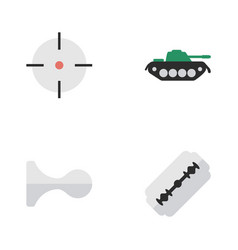 set of simple offense icons elements hunting vector image