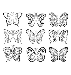 Set of six black butterflies contours over white vector