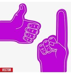 Set of Sports Fans holding Foam Fingers vector
