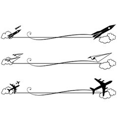 Set of vignettes with rocket and airplane vector