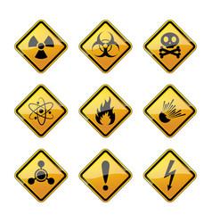 set of warning hazard signs vector image