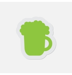 simple green icon - beer vector image
