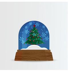 snow ball snow globe with snow fall and christmas vector image