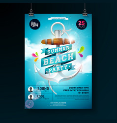 Summer beach party flyer design with anchor vector