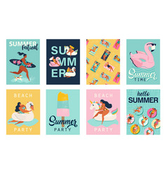 summer party hello summer posters in cute retro vector image