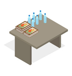 table with books and water bottles vector image