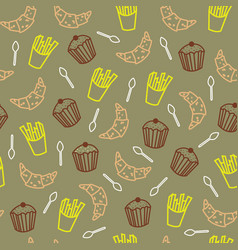 Tea party snacks seamless pattern vector