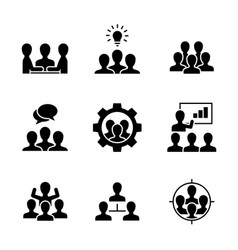 team work black icons on white background vector image