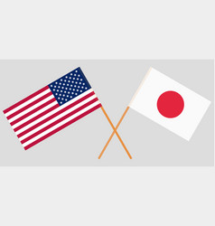 The crossed japan and usa flags vector