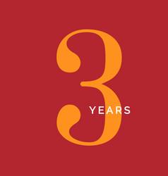 three years symbol third birthday emblem vector image