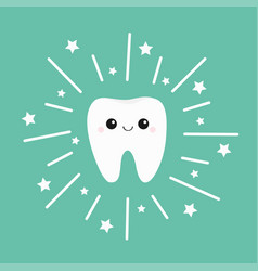 Tooth icon smiling face shining effect stars cute vector