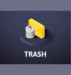 Trash isometric icon isolated on color background vector