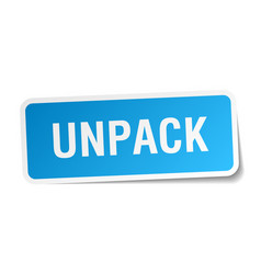 Unpack square sticker on white vector