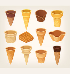 Variations of waffle cups and cones for ice cream vector