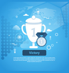 victory concept business web banner with copy vector image