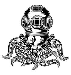 Vintage brass scuba diving mask octopuses o vector