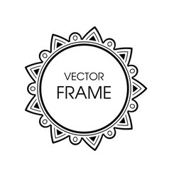 vintage grayscale round frame in a line style vector image