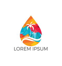 water drop travel agency logo design vector image