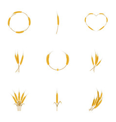 Wheat icons set cartoon style vector