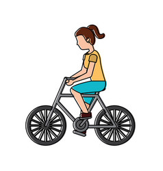 woman riding bicycle activity recreation sport vector image