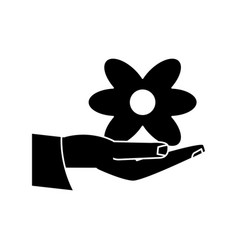 women day hand holding flower pictogram vector image