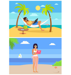 Working man and woman seaside vector