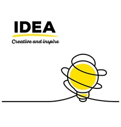 yellow color light bulb with black wire a vector image