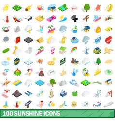 100 sunshine icons set isometric 3d style vector image